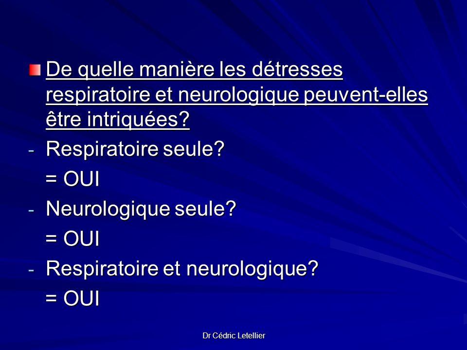 Dr Cédric Letellier De quelle manière les détresses respiratoire et neurologique peuvent-elles être intriquées? - Respiratoire seule? = OUI = OUI - Ne