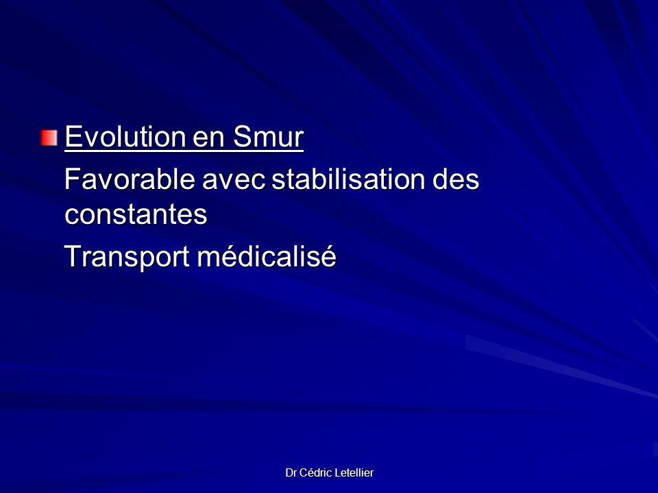 Dr Cédric Letellier Evolution en Smur Favorable avec stabilisation des constantes Favorable avec stabilisation des constantes Transport médicalisé Tra