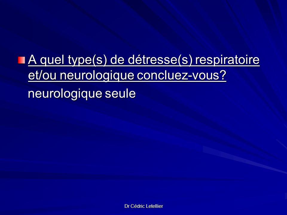 Dr Cédric Letellier A quel type(s) de détresse(s) respiratoire et/ou neurologique concluez-vous? neurologique seule neurologique seule