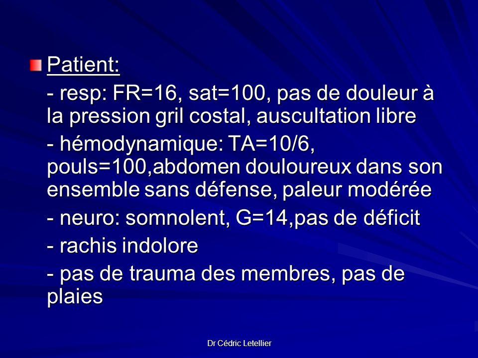 Dr Cédric Letellier Patient: - resp: FR=16, sat=100, pas de douleur à la pression gril costal, auscultation libre - hémodynamique: TA=10/6, pouls=100,