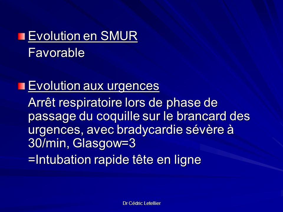 Dr Cédric Letellier Evolution en SMUR Favorable Evolution aux urgences Arrêt respiratoire lors de phase de passage du coquille sur le brancard des urg