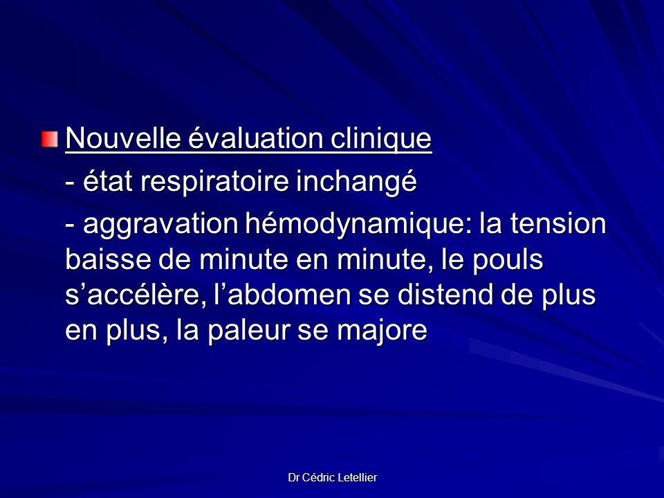 Dr Cédric Letellier Nouvelle évaluation clinique - état respiratoire inchangé - aggravation hémodynamique: la tension baisse de minute en minute, le p