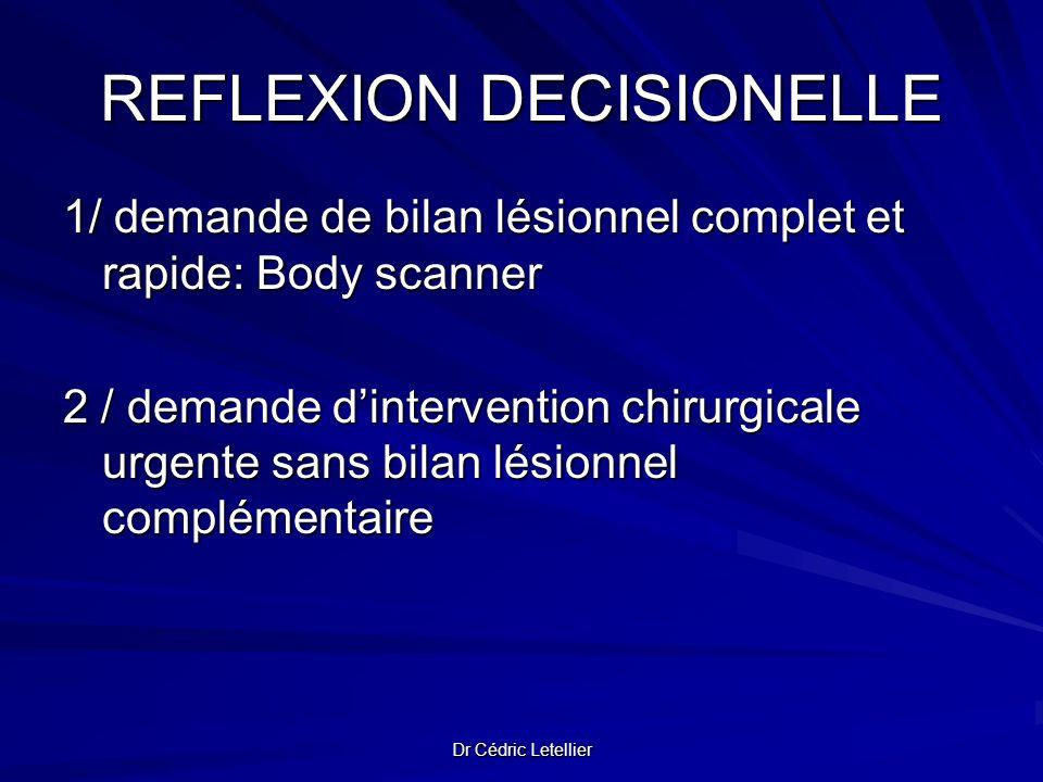 Dr Cédric Letellier REFLEXION DECISIONELLE 1/ demande de bilan lésionnel complet et rapide: Body scanner 2 / demande dintervention chirurgicale urgent