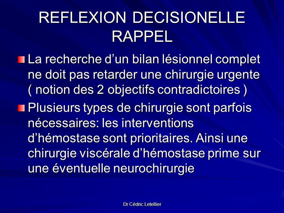 Dr Cédric Letellier REFLEXION DECISIONELLE RAPPEL La recherche dun bilan lésionnel complet ne doit pas retarder une chirurgie urgente ( notion des 2 o