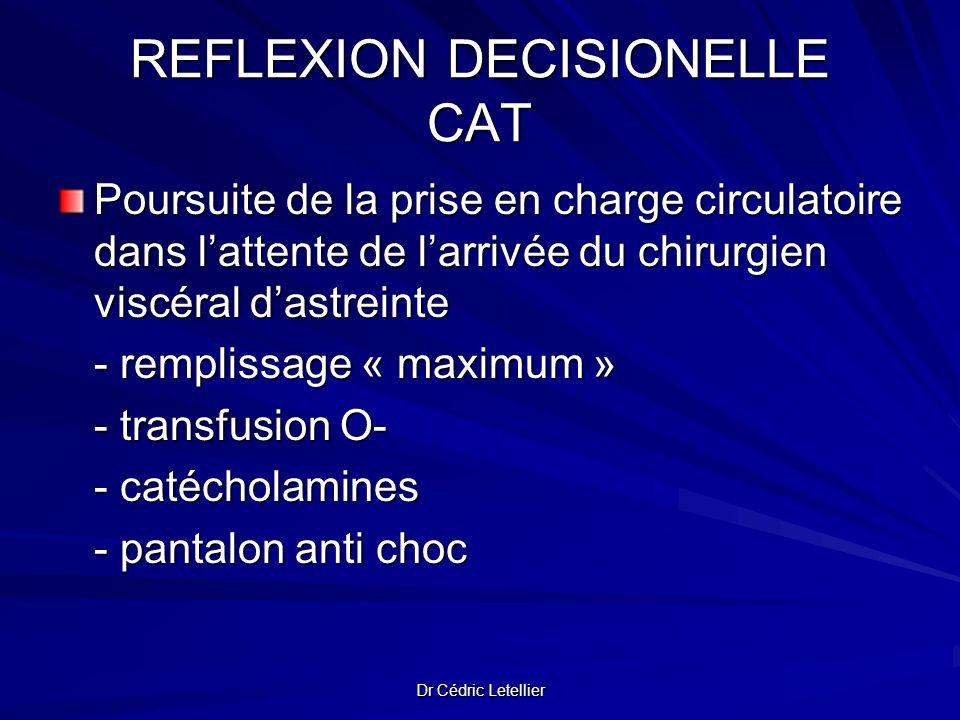 Dr Cédric Letellier REFLEXION DECISIONELLE CAT Poursuite de la prise en charge circulatoire dans lattente de larrivée du chirurgien viscéral dastreint