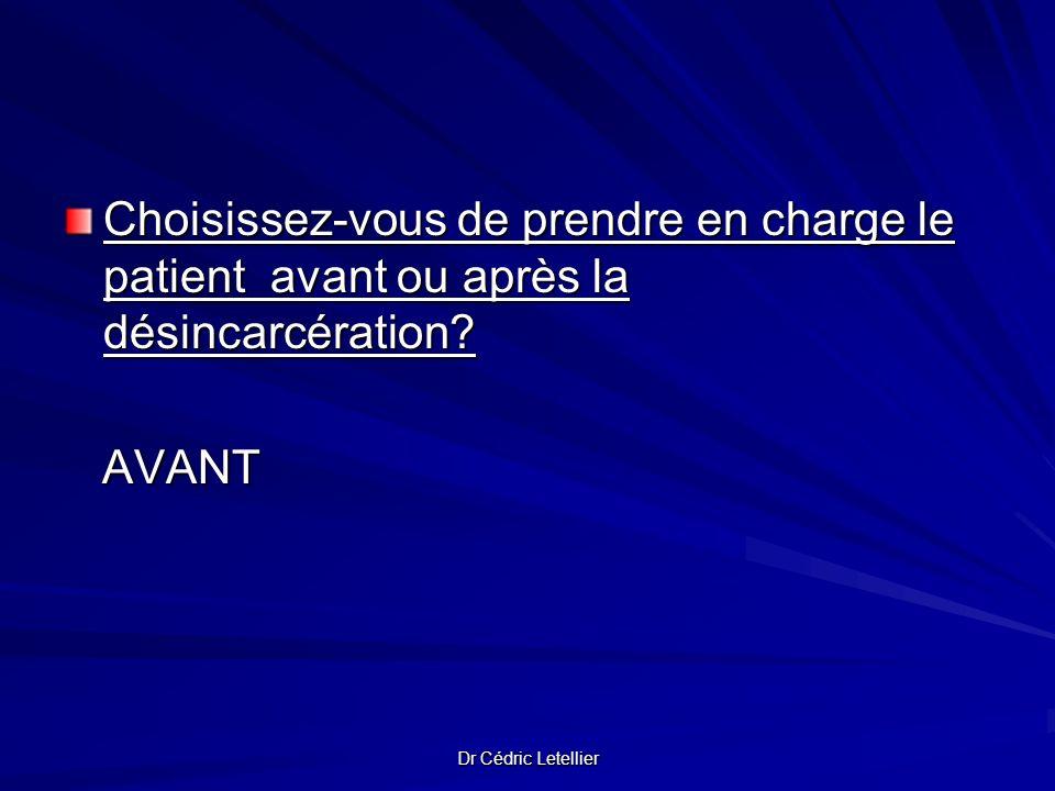 Dr Cédric Letellier Choisissez-vous de prendre en charge le patient avant ou après la désincarcération? AVANT AVANT