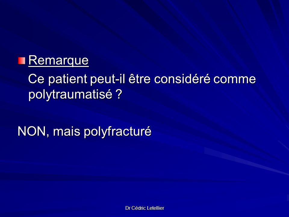 Remarque Ce patient peut-il être considéré comme polytraumatisé ? Ce patient peut-il être considéré comme polytraumatisé ? NON, mais polyfracturé