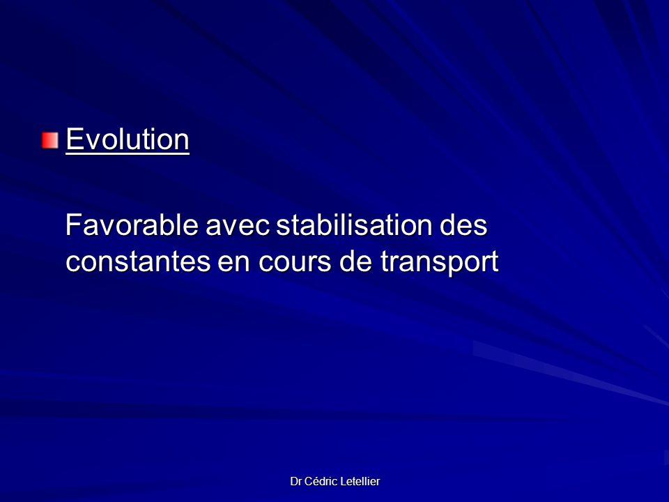 Evolution Favorable avec stabilisation des constantes en cours de transport Favorable avec stabilisation des constantes en cours de transport