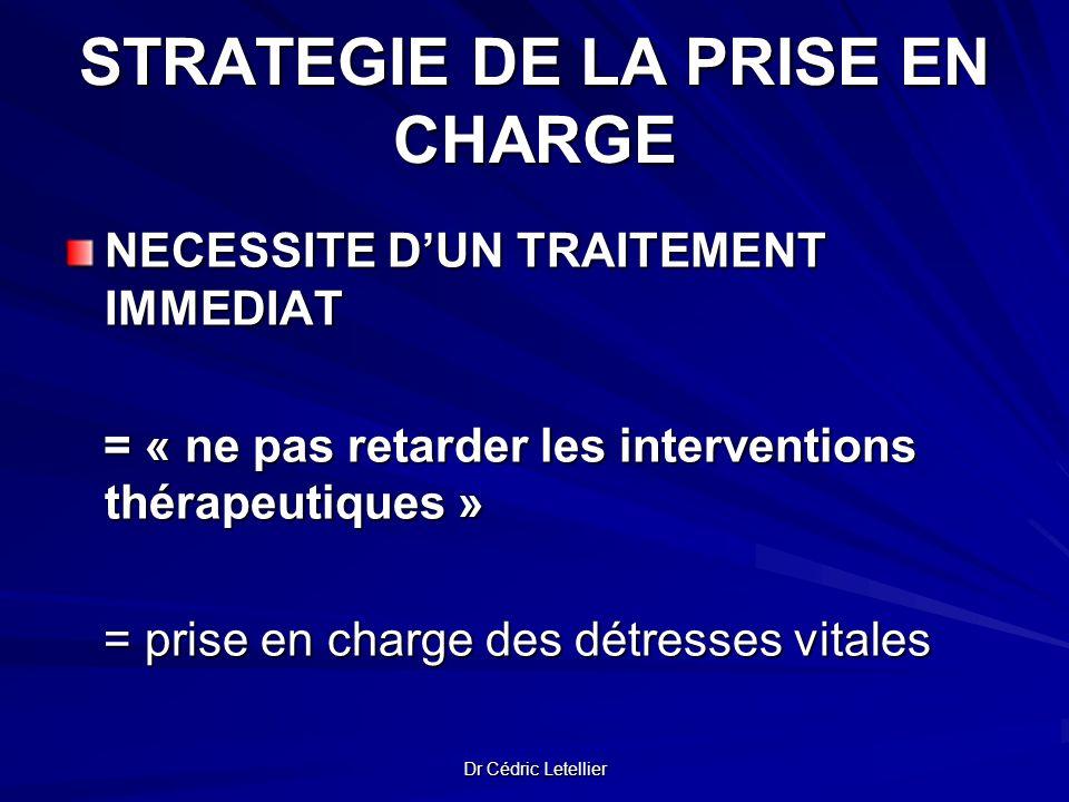 Dr Cédric Letellier STRATEGIE DE LA PRISE EN CHARGE STRATEGIE DE LA PRISE EN CHARGE NECESSITE DUN TRAITEMENT IMMEDIAT = « ne pas retarder les interven