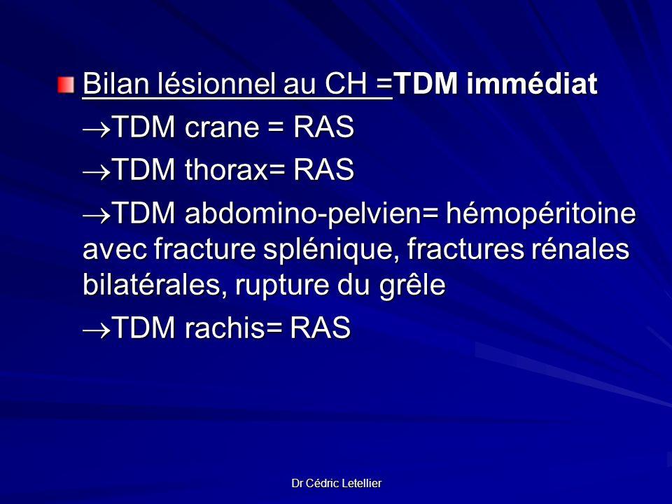 Dr Cédric Letellier Bilan lésionnel au CH =TDM immédiat TDM crane = RAS TDM crane = RAS TDM thorax= RAS TDM thorax= RAS TDM abdomino-pelvien= hémopéri