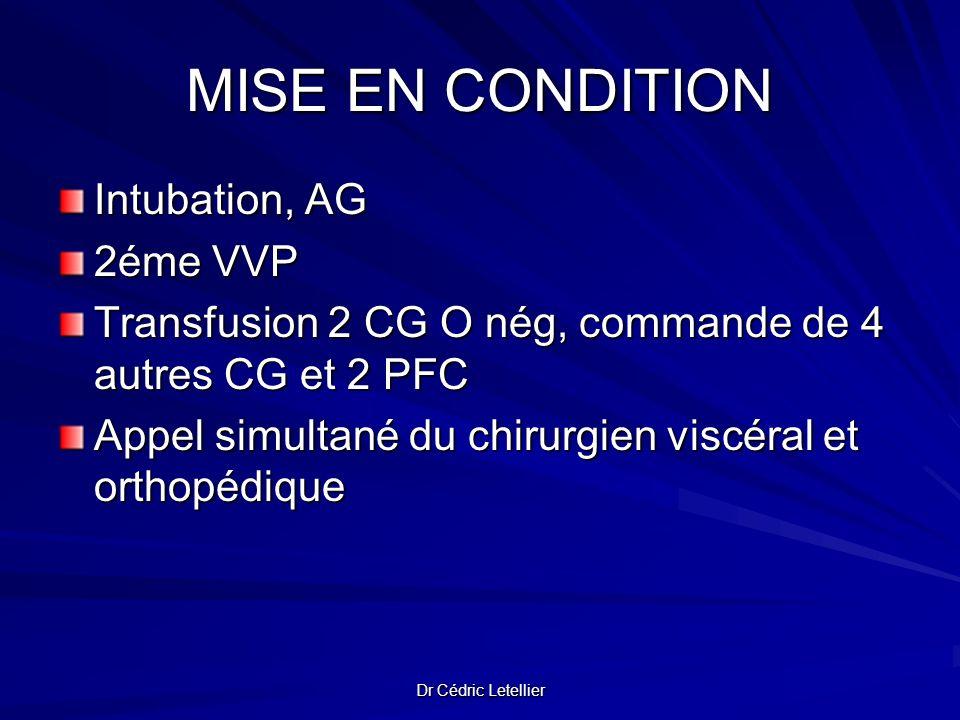 Dr Cédric Letellier MISE EN CONDITION Intubation, AG 2éme VVP Transfusion 2 CG O nég, commande de 4 autres CG et 2 PFC Appel simultané du chirurgien v