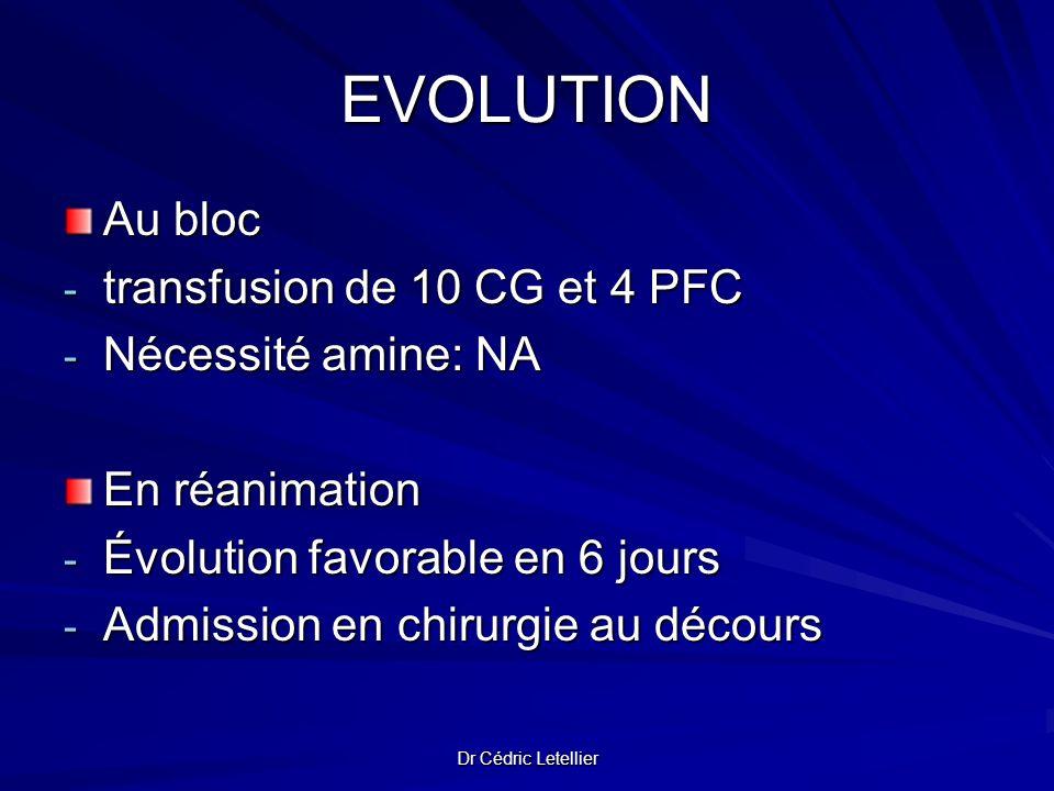 Dr Cédric Letellier EVOLUTION Au bloc - transfusion de 10 CG et 4 PFC - Nécessité amine: NA En réanimation - Évolution favorable en 6 jours - Admissio