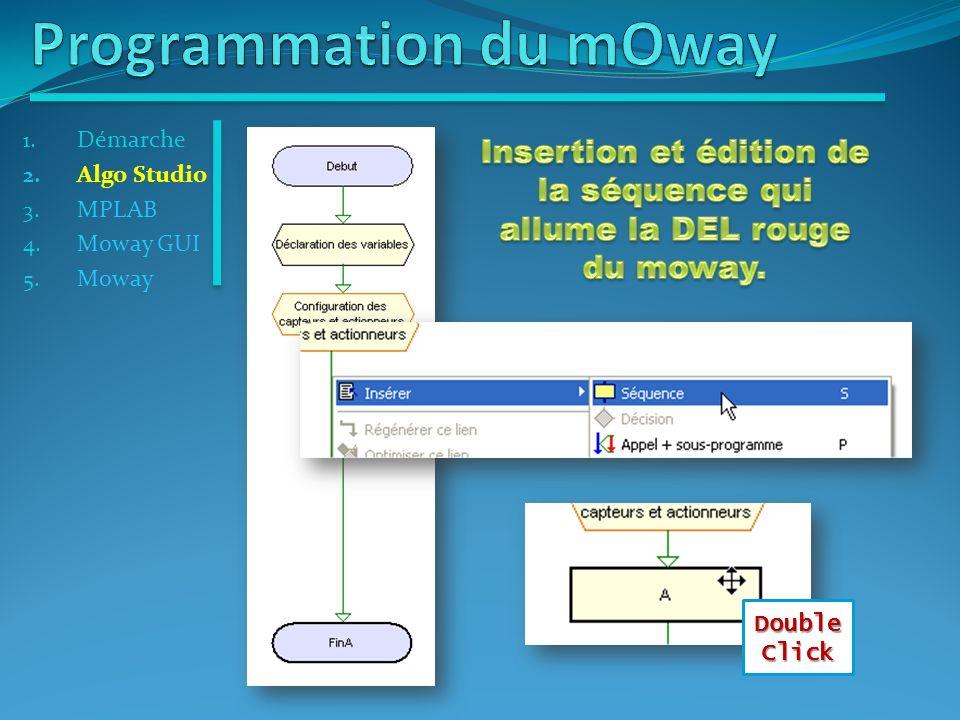 Click Droit 1. Démarche 2. Algo Studio 3. MPLAB 4. Moway GUI 5. Moway Double Click
