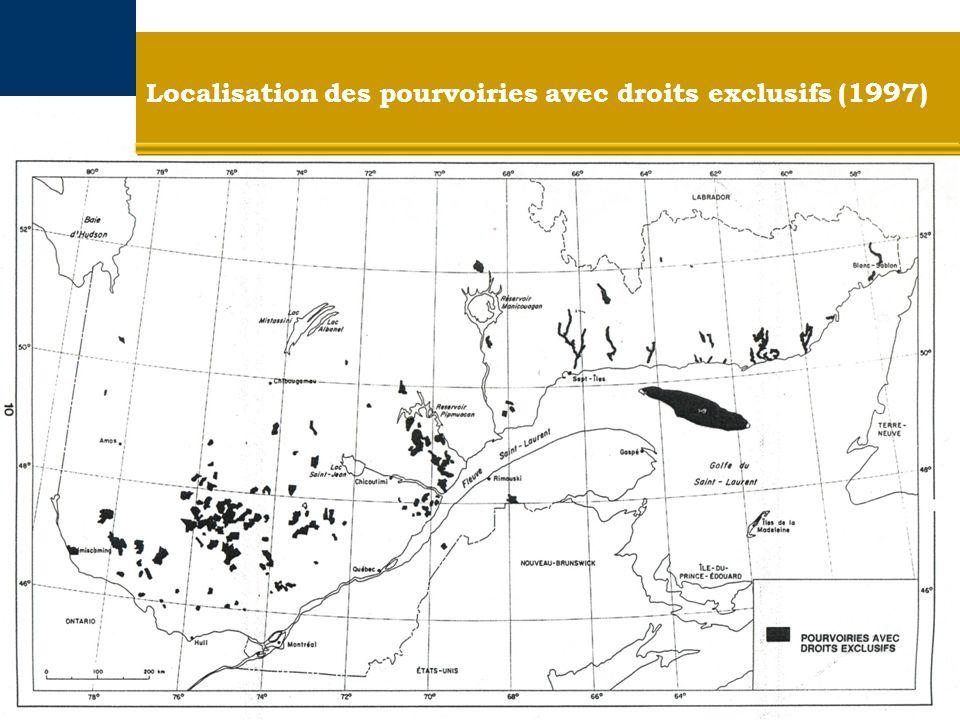 Localisation des pourvoiries avec droits exclusifs (1997)