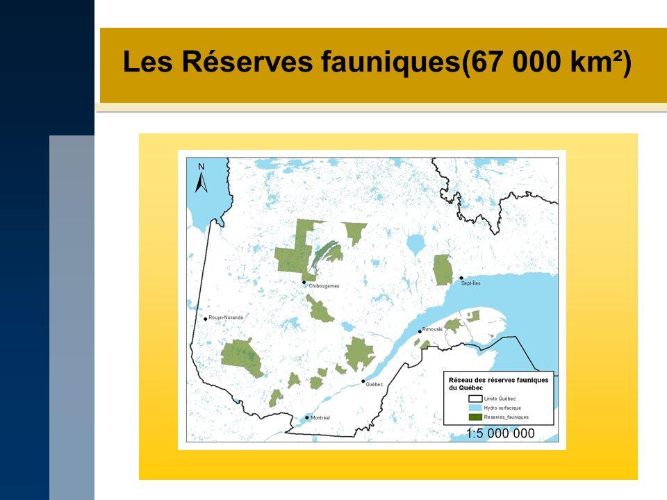 Les Réserves fauniques(67 000 km²)