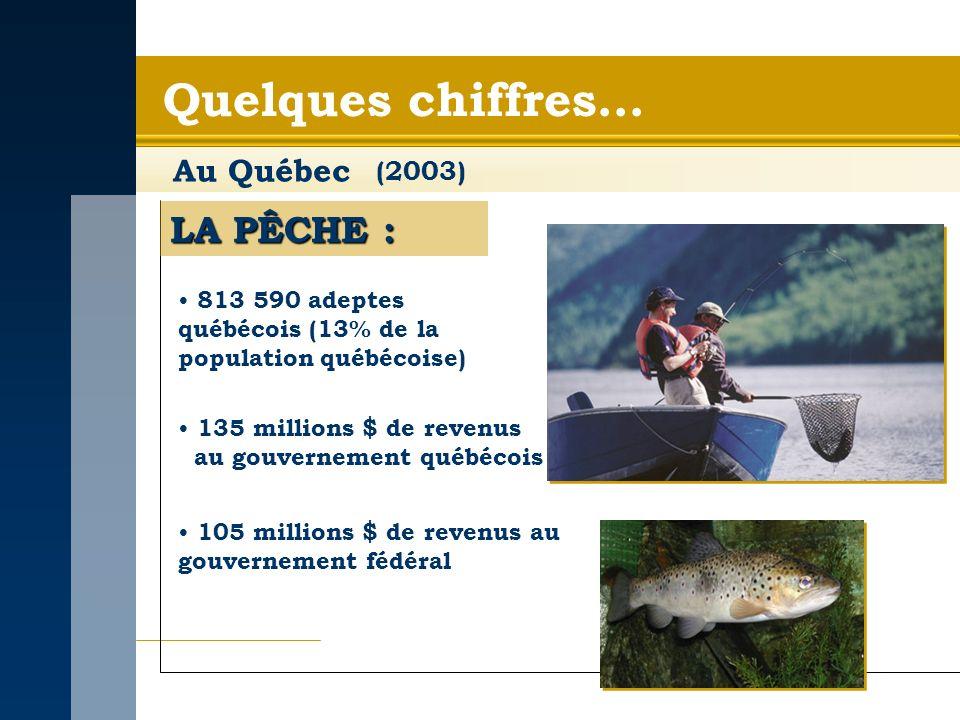 Quelques chiffres… Au Québec LA PÊCHE : 813 590 adeptes québécois (13% de la population québécoise) 135 millions $ de revenus au gouvernement québécois 105 millions $ de revenus au gouvernement fédéral (2003)