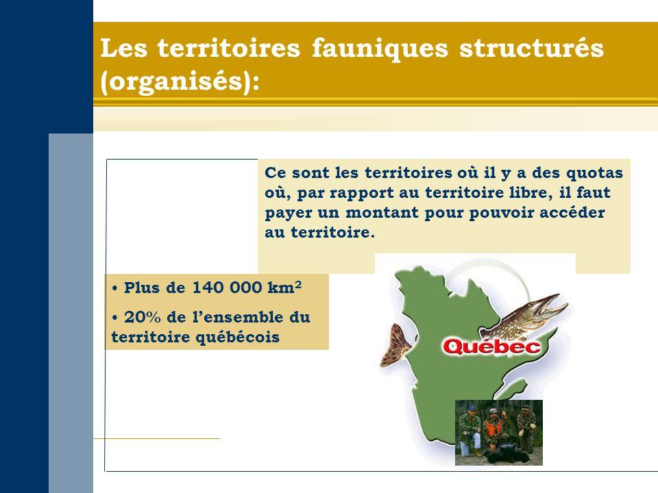 Les territoires fauniques structurés (organisés): Plus de 140 000 km 2 20% de lensemble du territoire québécois Ce sont les territoires où il y a des quotas où, par rapport au territoire libre, il faut payer un montant pour pouvoir accéder au territoire.