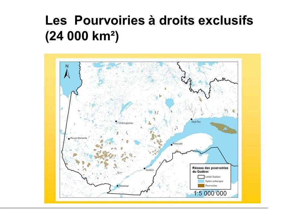 Les Pourvoiries à droits exclusifs (24 000 km²)