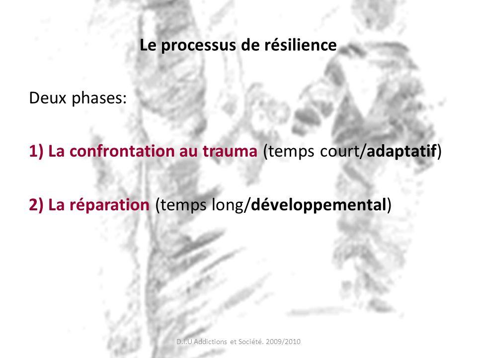 Le processus de résilience Deux phases: 1) La confrontation au trauma (temps court/adaptatif) 2) La réparation (temps long/développemental) D.I.U Addi