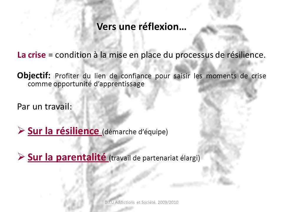 Vers une réflexion… La crise = condition à la mise en place du processus de résilience. Objectif: Profiter du lien de confiance pour saisir les moment