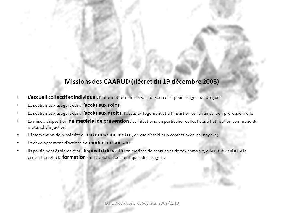 Missions des CAARUD (décret du 19 décembre 2005) L accueil collectif et individuel, linformation et le conseil personnalisé pour usagers de drogues Le