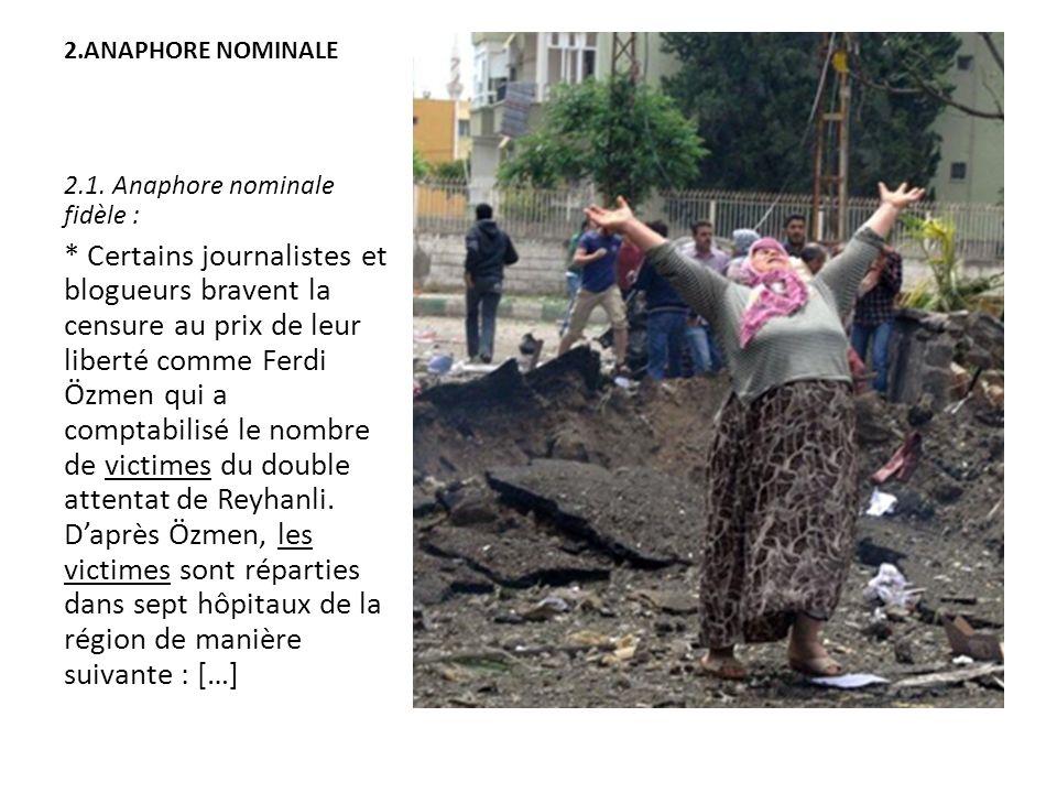 2.ANAPHORE NOMINALE 2.1. Anaphore nominale fidèle : * Certains journalistes et blogueurs bravent la censure au prix de leur liberté comme Ferdi Özmen