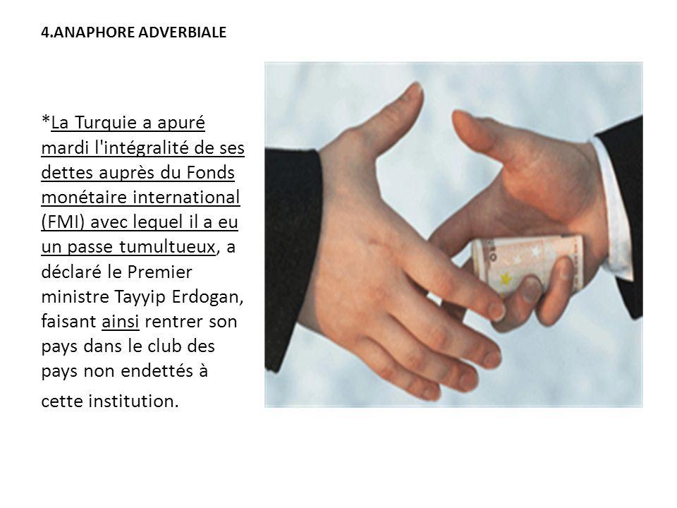 4.ANAPHORE ADVERBIALE *La Turquie a apuré mardi l'intégralité de ses dettes auprès du Fonds monétaire international (FMI) avec lequel il a eu un passe