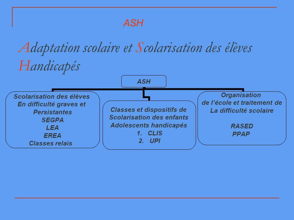 Adaptation scolaire et Scolarisation des élèves Handicapés ASH Scolarisation des élèves En difficulté graves et Persistantes SEGPA LEA EREA Classes re