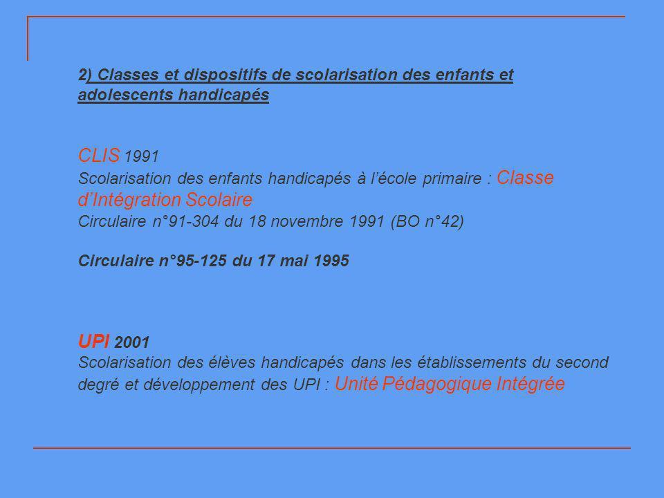 2) Classes et dispositifs de scolarisation des enfants et adolescents handicapés CLIS 1991 Scolarisation des enfants handicapés à lécole primaire : Cl