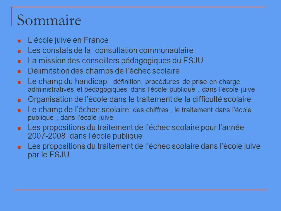 Sommaire Lécole juive en France Les constats de la consultation communautaire La mission des conseillers pédagogiques du FSJU Délimitation des champs