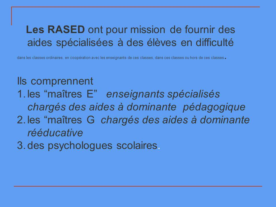 Les RASED ont pour mission de fournir des aides spécialisées à des élèves en difficulté dans les classes ordinaires, en coopération avec les enseignants de ces classes, dans ces classes ou hors de ces classes.