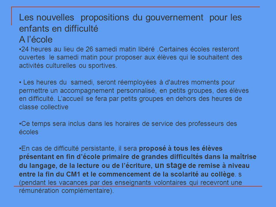 Les nouvelles propositions du gouvernement pour les enfants en difficulté A lécole 24 heures au lieu de 26 samedi matin libéré.Certaines écoles rester