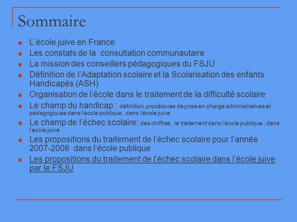 Sommaire Lécole juive en France Les constats de la consultation communautaire La mission des conseillers pédagogiques du FSJU Définition de lAdaptatio