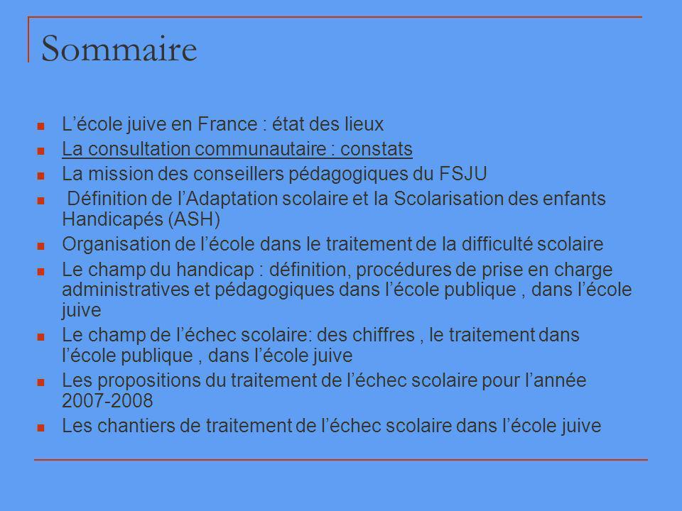 Sommaire Lécole juive en France : état des lieux La consultation communautaire : constats La mission des conseillers pédagogiques du FSJU Définition d
