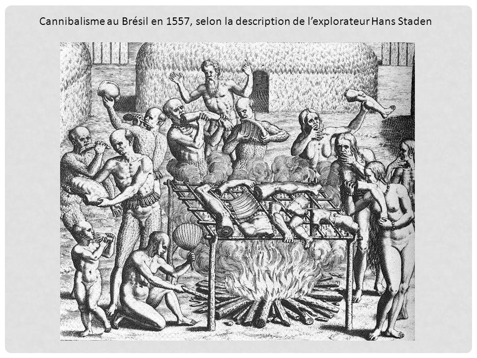 Théodore de Bry (1528-1598). Gravure en taille douce pour Jean de Lery. Gravure de 1593 représentant le repas des cannibales