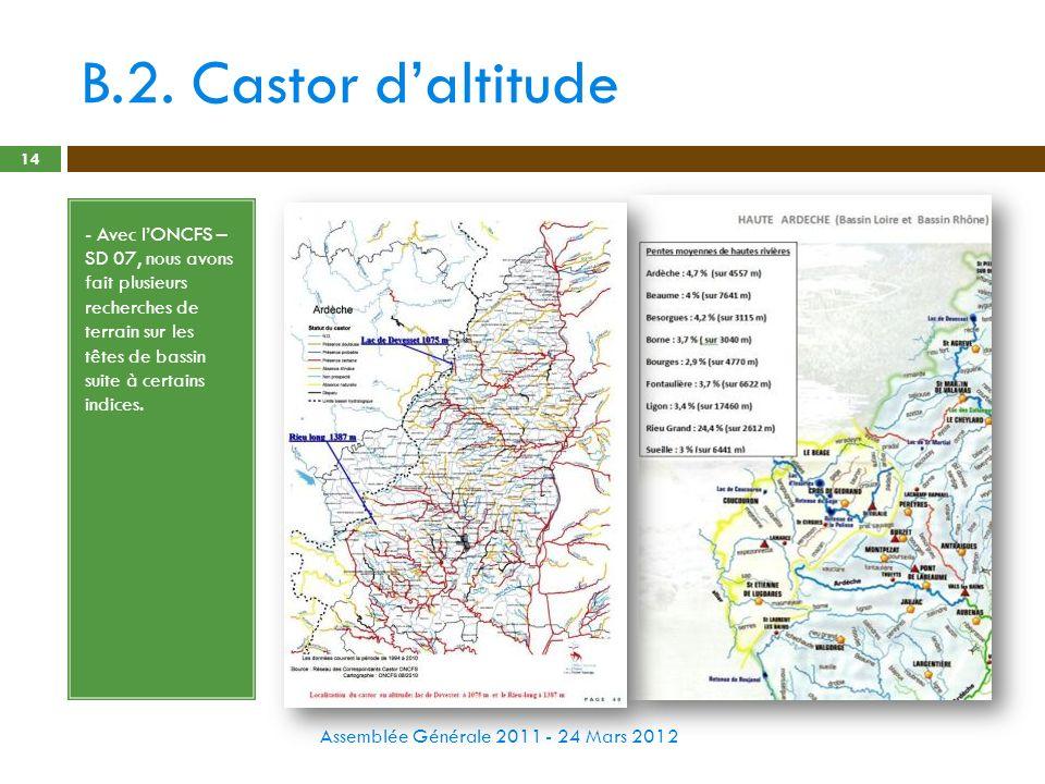 B.2. Castor daltitude Assemblée Générale 2011 - 24 Mars 2012 14 - Avec lONCFS – SD 07, nous avons fait plusieurs recherches de terrain sur les têtes d