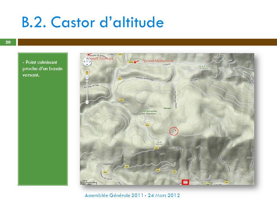 B.2. Castor daltitude Assemblée Générale 2011 - 24 Mars 2012 20 - Point culminant proche dun bassin versant.