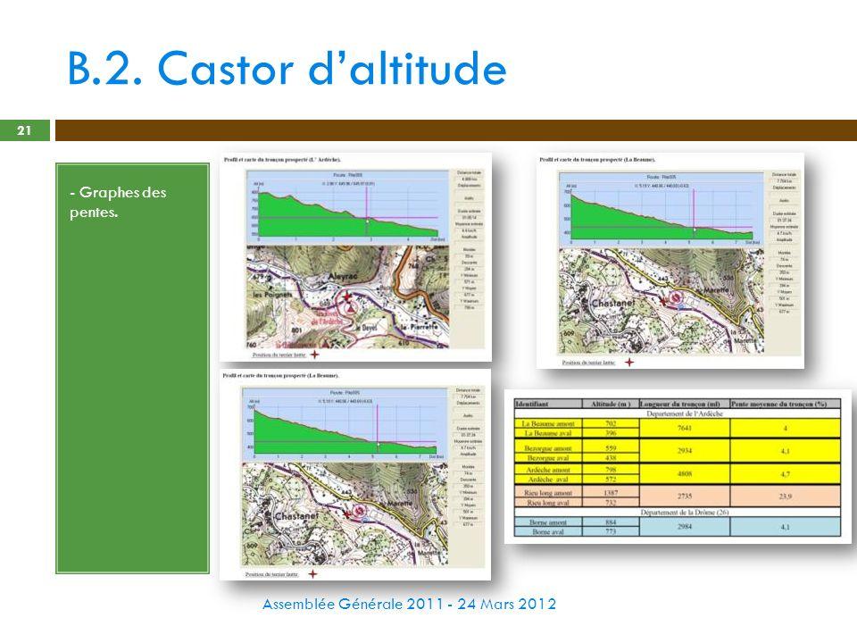 B.2. Castor daltitude Assemblée Générale 2011 - 24 Mars 2012 21 - Graphes des pentes.