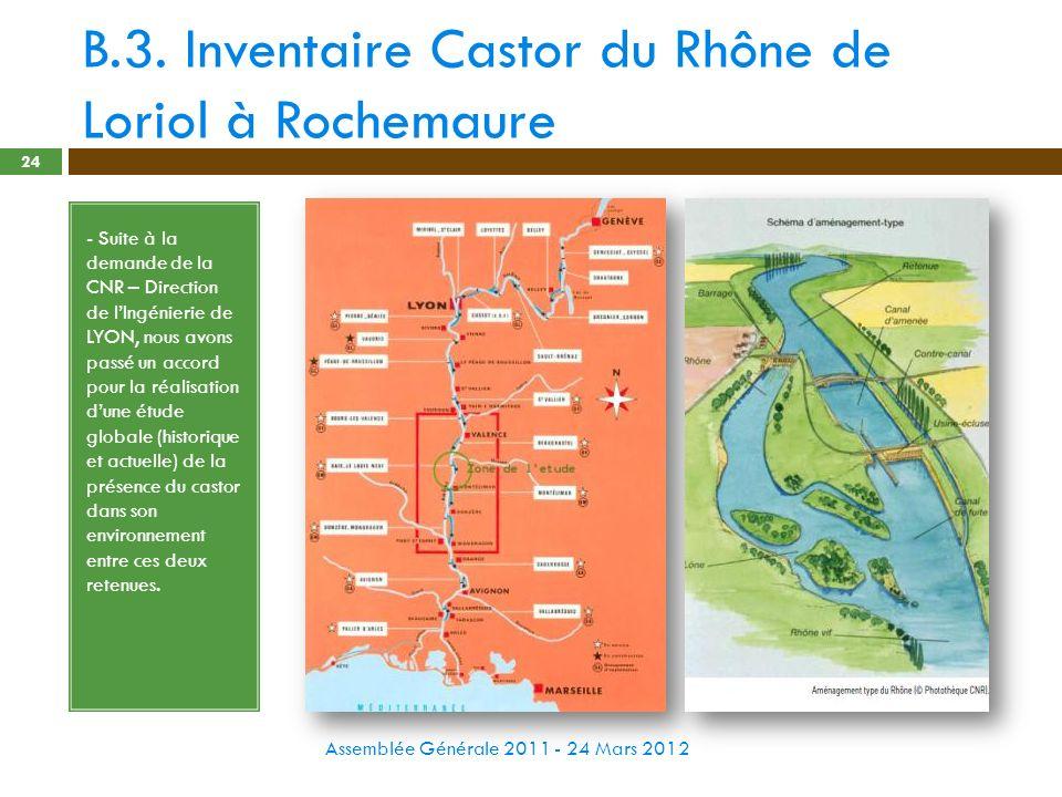 B.3. Inventaire Castor du Rhône de Loriol à Rochemaure Assemblée Générale 2011 - 24 Mars 2012 24 - Suite à la demande de la CNR – Direction de lIngéni