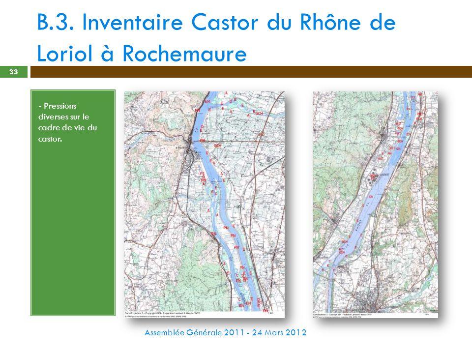 B.3. Inventaire Castor du Rhône de Loriol à Rochemaure Assemblée Générale 2011 - 24 Mars 2012 33 - Pressions diverses sur le cadre de vie du castor.
