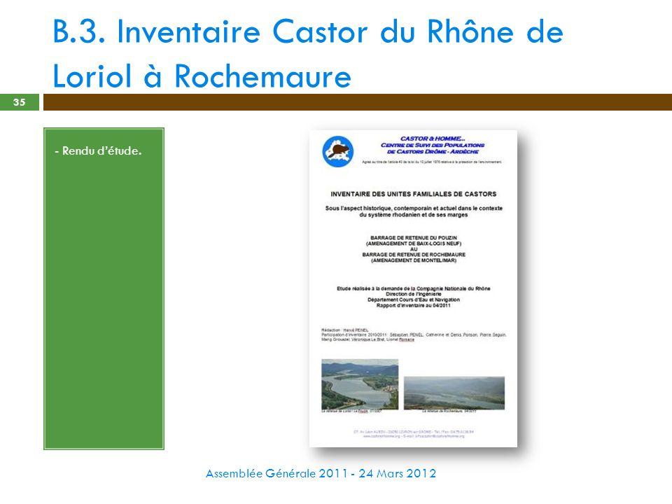 B.3. Inventaire Castor du Rhône de Loriol à Rochemaure Assemblée Générale 2011 - 24 Mars 2012 35 - Rendu détude.