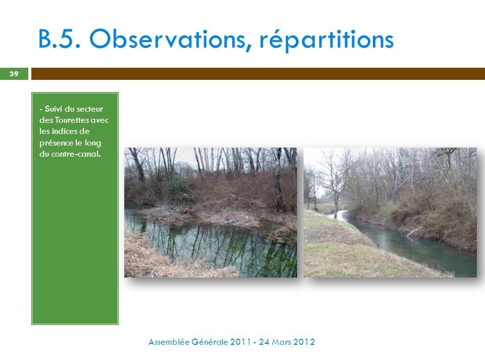 B.5. Observations, répartitions Assemblée Générale 2011 - 24 Mars 2012 39 - Suivi du secteur des Tourettes avec les indices de présence le long du con