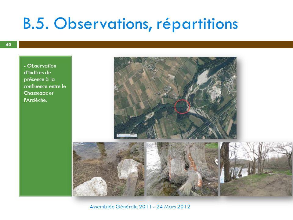 B.5. Observations, répartitions Assemblée Générale 2011 - 24 Mars 2012 40 - Observation dindices de présence à la confluence entre le Chassezac et lAr
