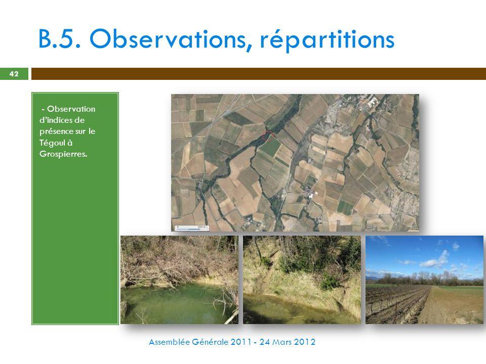 B.5. Observations, répartitions Assemblée Générale 2011 - 24 Mars 2012 42 - - Observation dindices de présence sur le Tégoul à Grospierres.