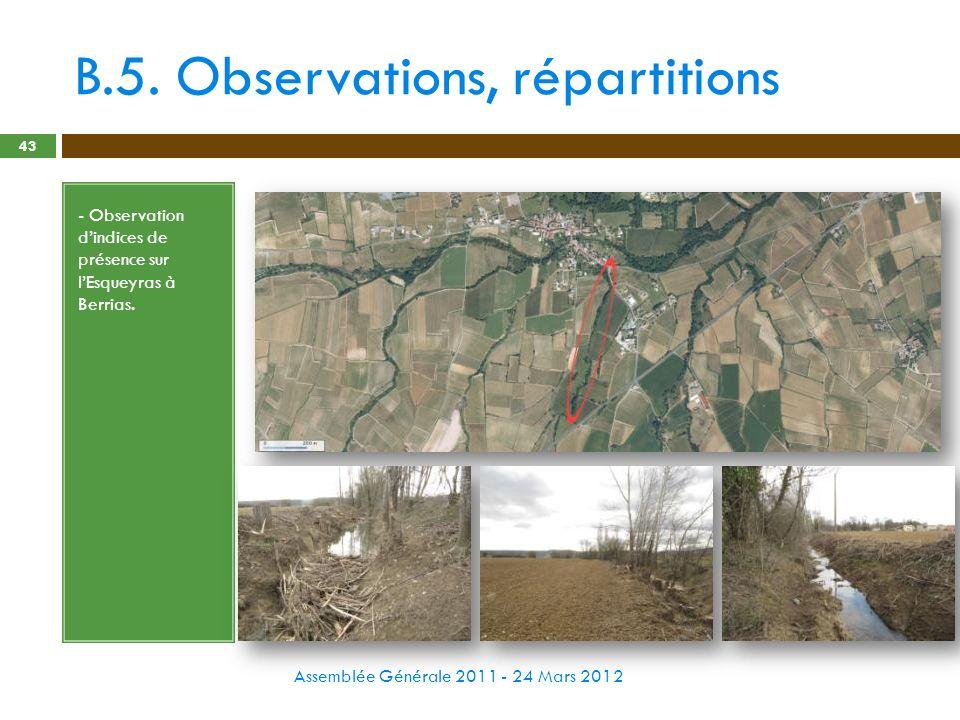 B.5. Observations, répartitions Assemblée Générale 2011 - 24 Mars 2012 43 - Observation dindices de présence sur lEsqueyras à Berrias.