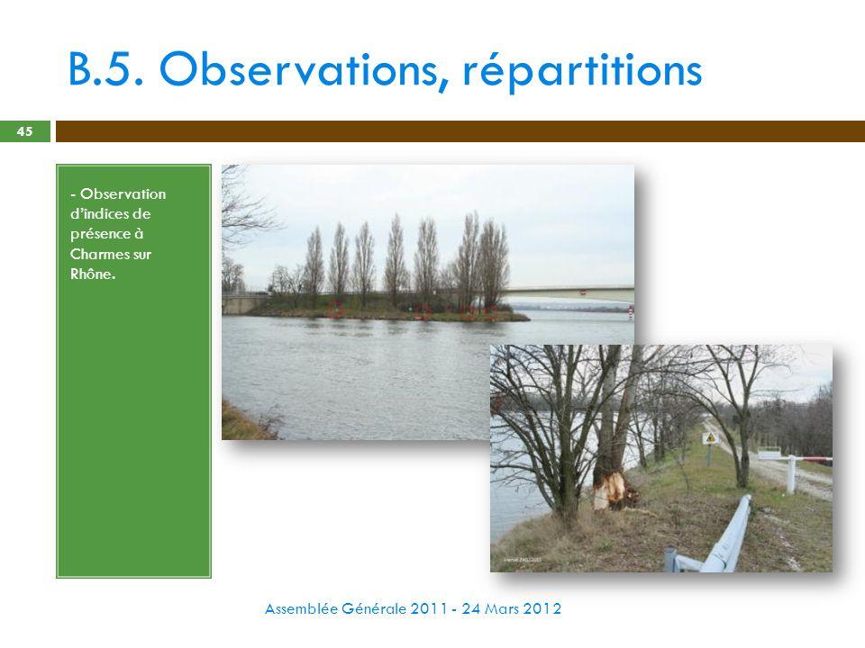B.5. Observations, répartitions Assemblée Générale 2011 - 24 Mars 2012 45 - Observation dindices de présence à Charmes sur Rhône.