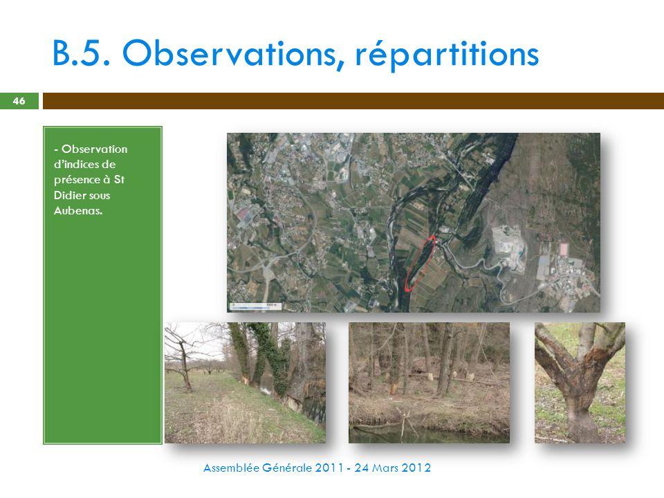 B.5. Observations, répartitions Assemblée Générale 2011 - 24 Mars 2012 46 - Observation dindices de présence à St Didier sous Aubenas.