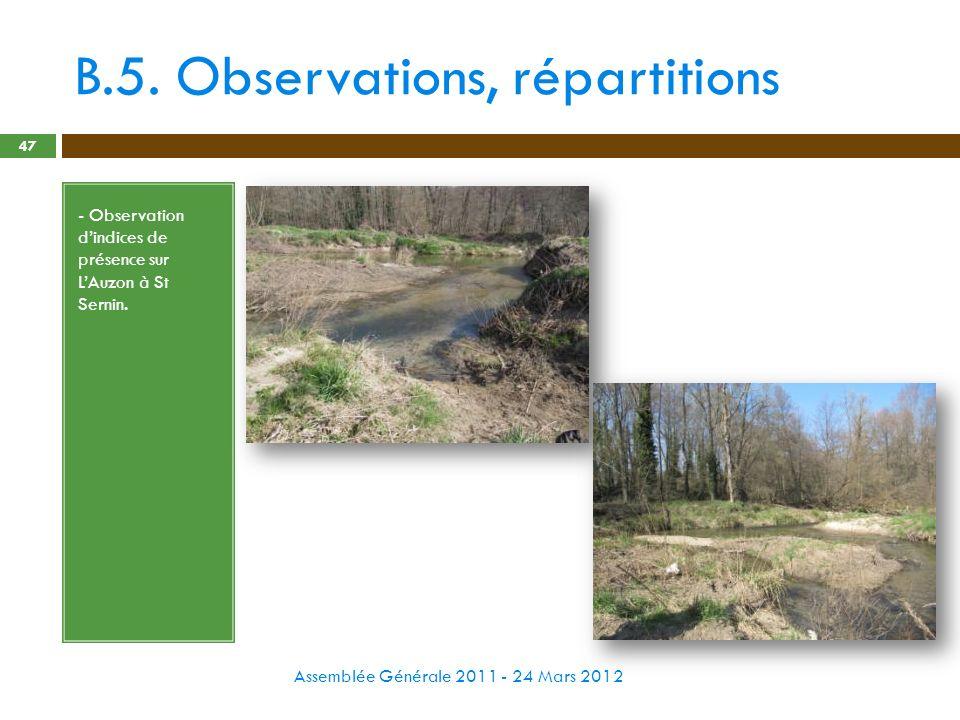 B.5. Observations, répartitions Assemblée Générale 2011 - 24 Mars 2012 47 - Observation dindices de présence sur LAuzon à St Sernin.