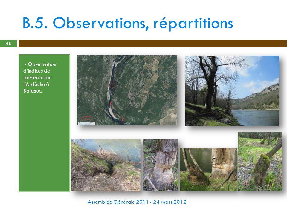 B.5. Observations, répartitions Assemblée Générale 2011 - 24 Mars 2012 48 - - Observation dindices de présence sur lArdèche à Balazuc.