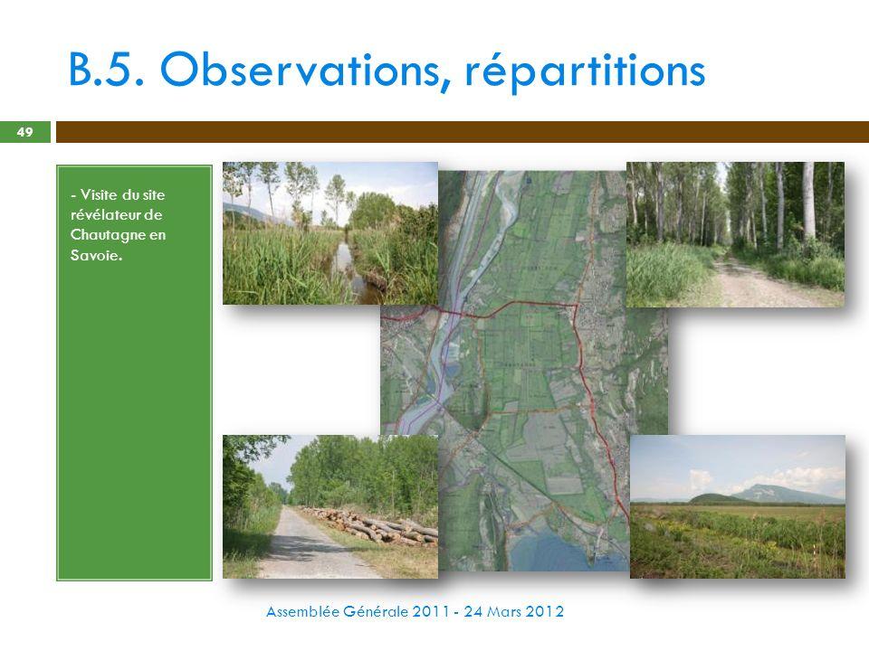 B.5. Observations, répartitions Assemblée Générale 2011 - 24 Mars 2012 49 - Visite du site révélateur de Chautagne en Savoie.